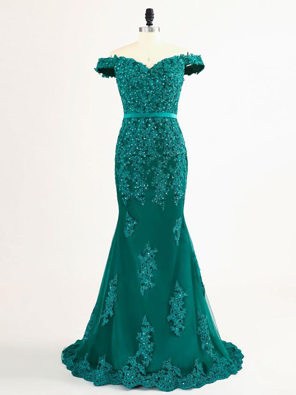 09c0054fa43df Mermaid prom dresses,Dark Green Off-the-shoulder Applique Floor Length Tulle  Evening Dress Prom Dresses AMY004