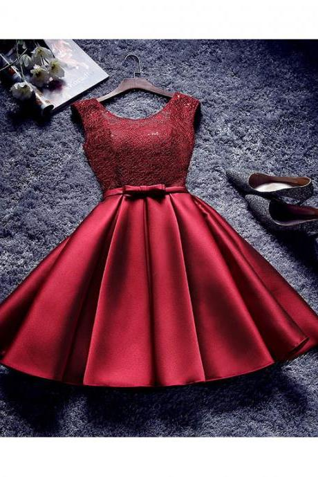 A-line Scoop Short Mini Satin Burgundy Short Prom Dress Homecoming Dresses SKY759